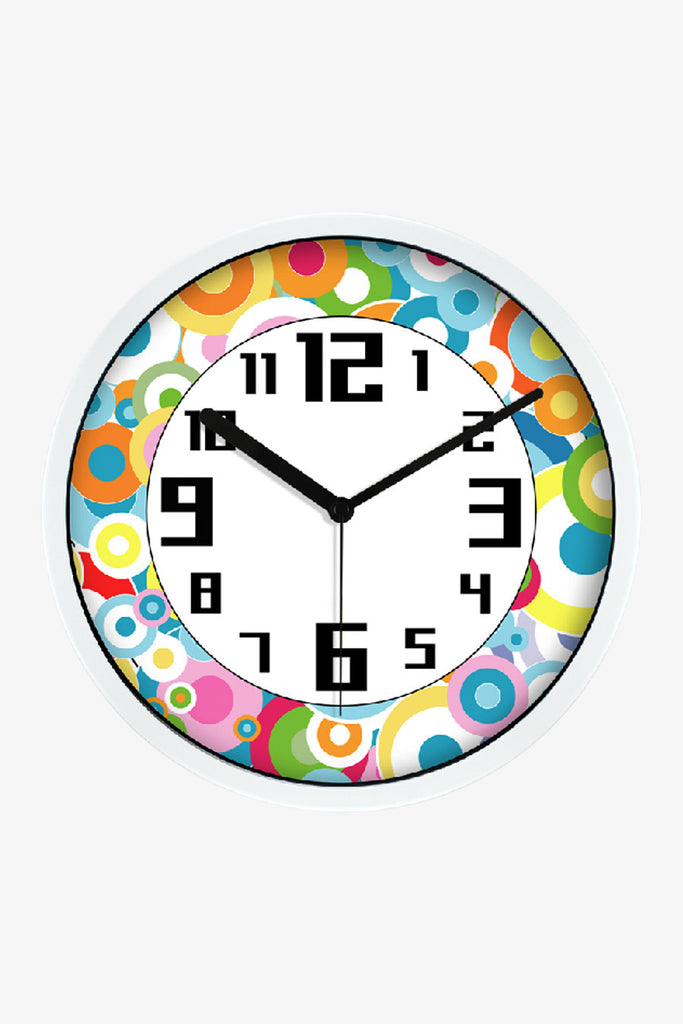 Fashion Art Wall Colorful Round Icons Clock In White