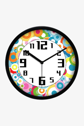 Fashion Art Wall Colorful Round Icons Clock In Black