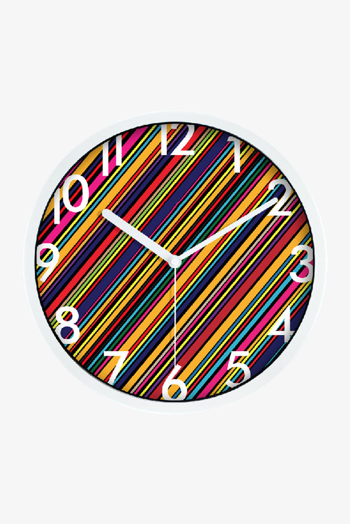 Fashion Art Wall Colorful Stripes Clock In White
