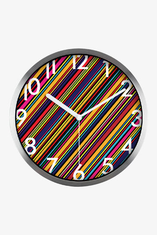 Fashion Art Wall Colorful Stripes Clock In Silver Satin