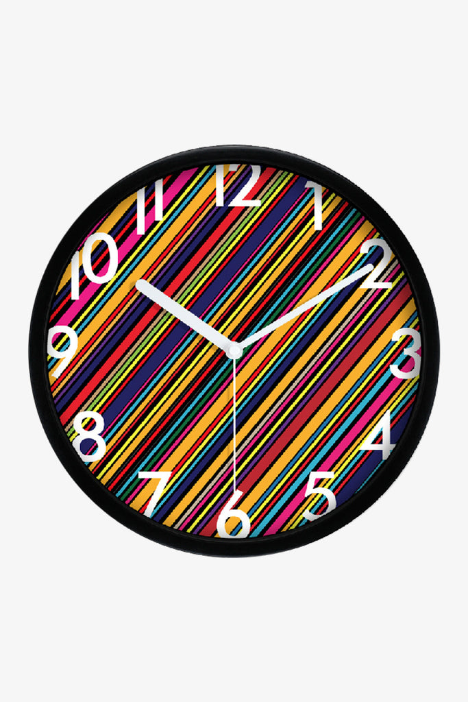 Fashion Art Wall Colorful Stripes Clock In Black