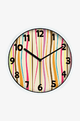 Fashion Art Wall Colorful Vertical Stripes Clock In White