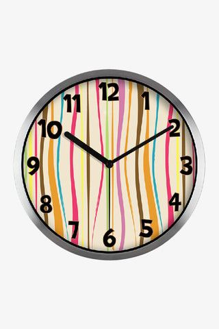 Fashion Art Wall Colorful Vertical Stripes Clock In Silver Satin