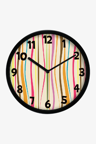 Fashion Art Wall Colorful Vertical Stripes Clock In Black