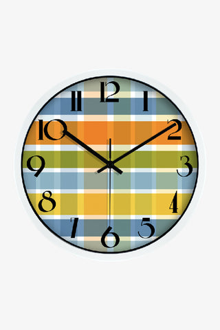 Fashion Art Wall Colorful Tartan Clock In White