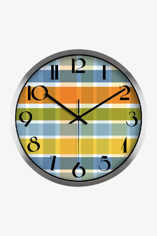 Fashion Art Wall Colorful Tartan Clock In Silver Satin