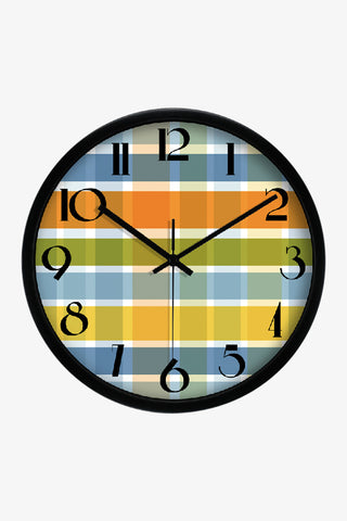 Fashion Art Wall Colorful Tartan Clock In Black