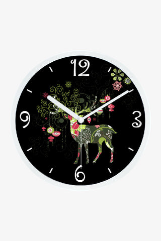 Fashion Art Wall Christmas Reindeer Clock In White