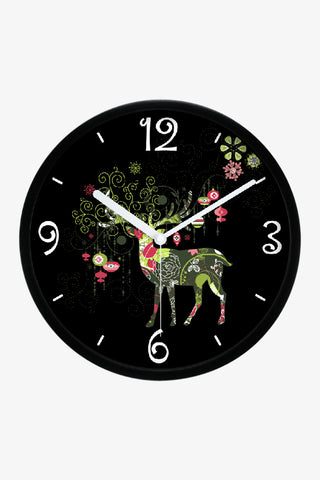 Fashion Art Wall Christmas Reindeer Clock In Black