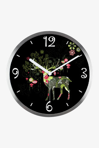 Fashion Art Wall Christmas Reindeer Clock In Silver Satin