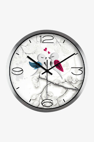 Vintage Art Wall Cute Love Birds Clock In Silver Satin