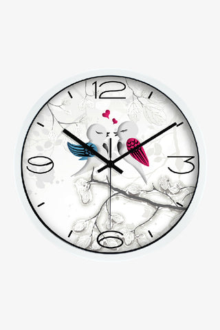 Vintage Art Wall Cute Love Birds Clock In White