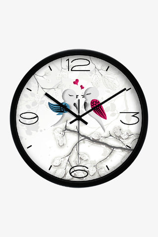 Vintage Art Wall Cute Love Birds Clock In Black