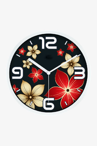 Fashion Art Wall Floral Clock In White