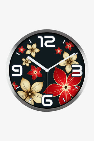 Fashion Art Wall Floral Clock In Silver Satin