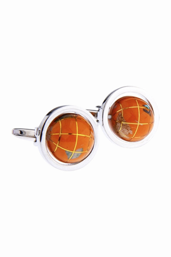 Rotatable Globe Men's Cufflinks In Orange