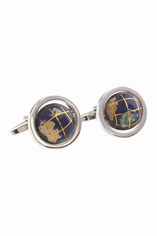 Rotatable Globe Men's Cufflinks In Navy