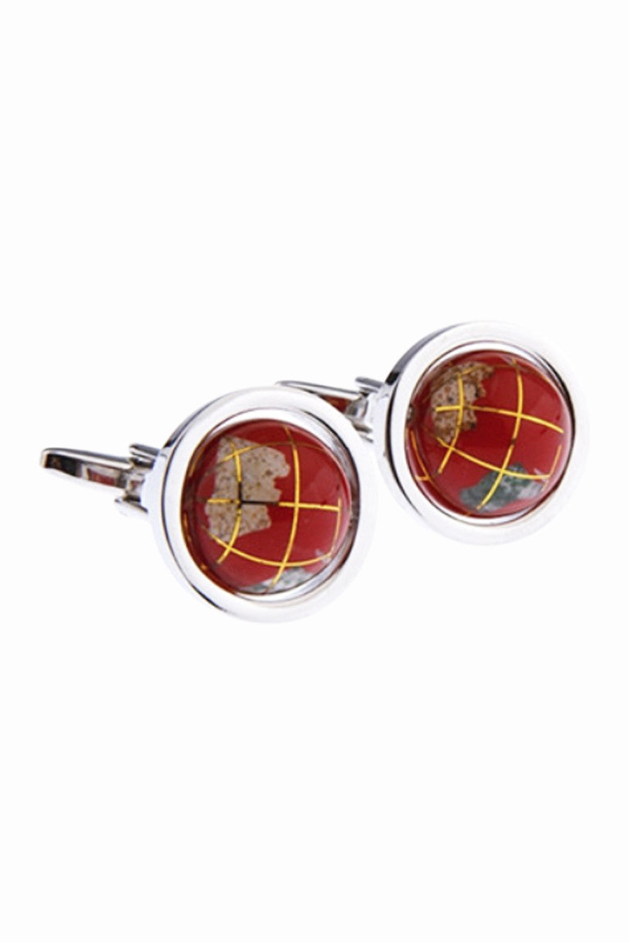 Rotatable Globe Men's Cufflinks In Red