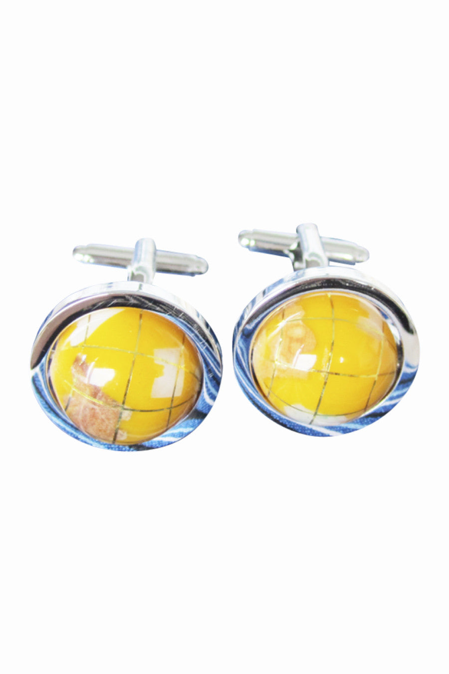 Rotatable Globe Men's Cufflinks In Yellow