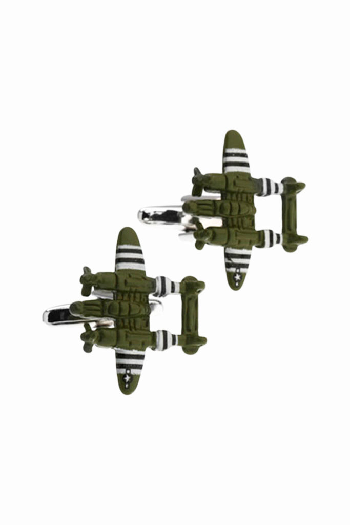 Fighter Jet Army Green Cufflinks For Men