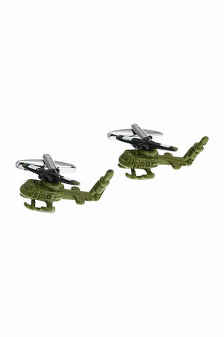 Army Green Helicopter Cufflinks For Men