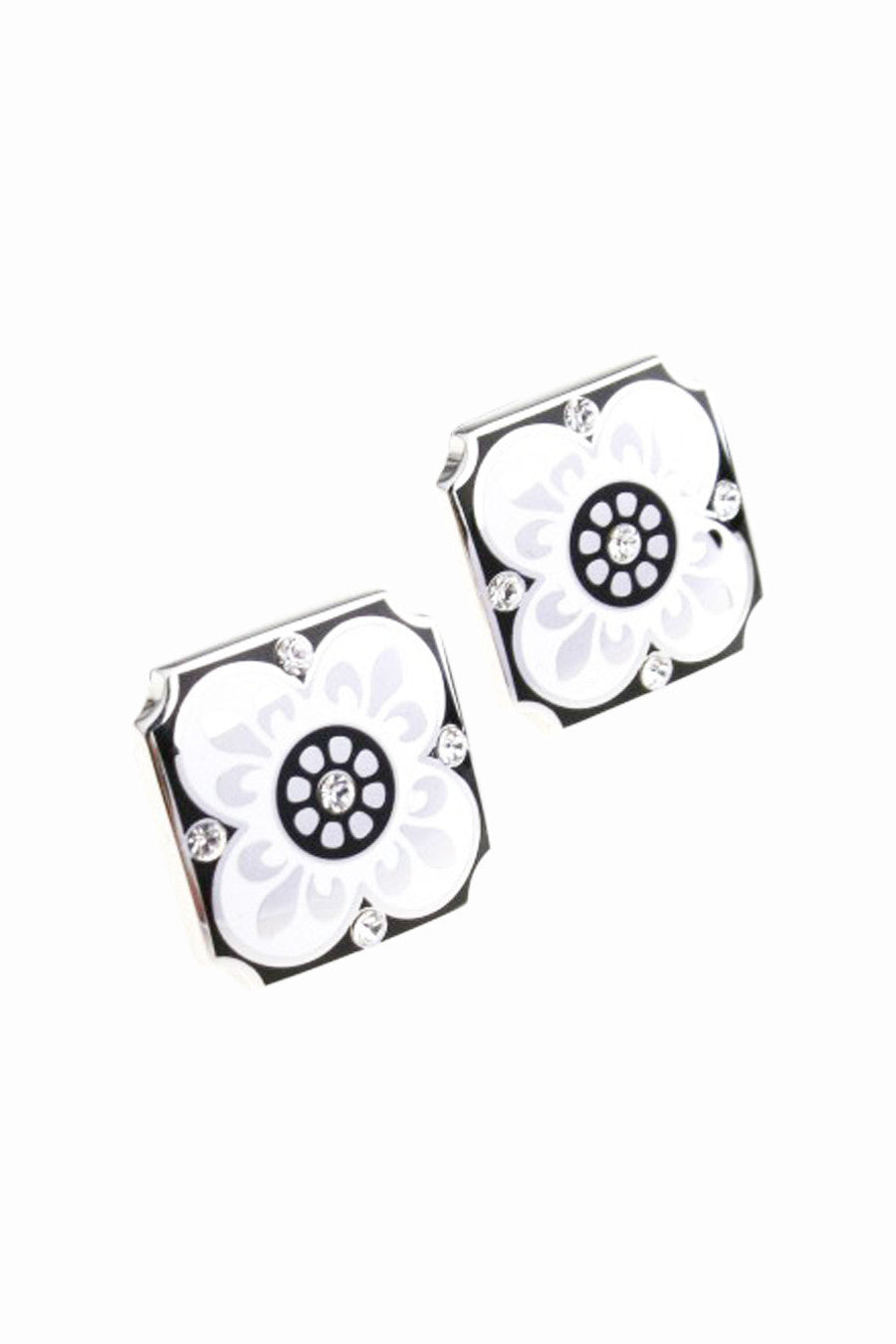 Wedding Party Gift Crystal Floral Cufflinks In White