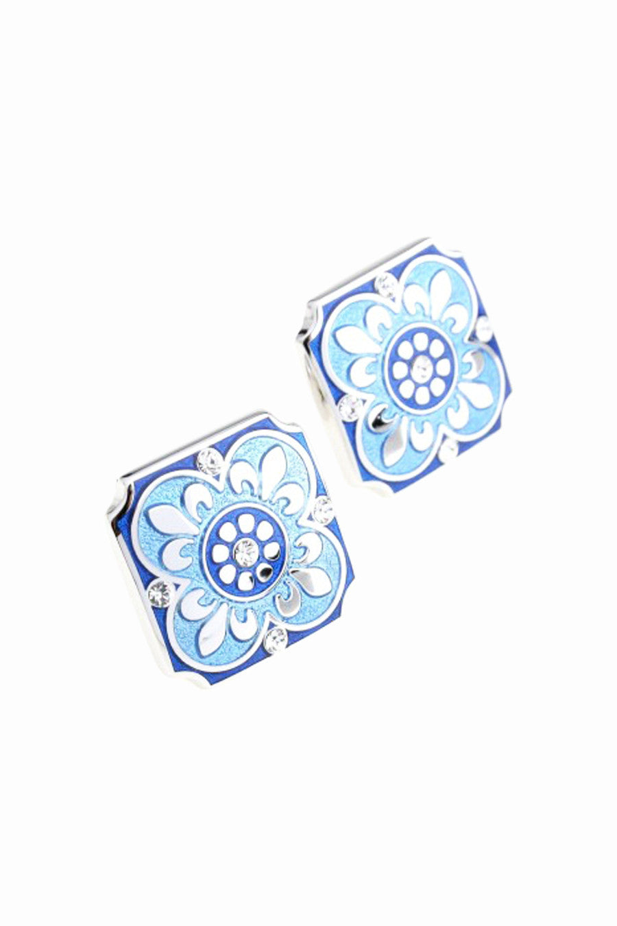 Wedding Party Gift Crystal Floral Cufflinks In Blue
