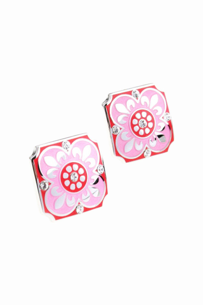 Wedding Party Gift Crystal Floral Cufflinks In Pink