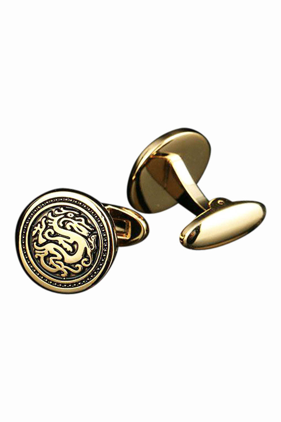 Retro Dragon Round Cufflinks