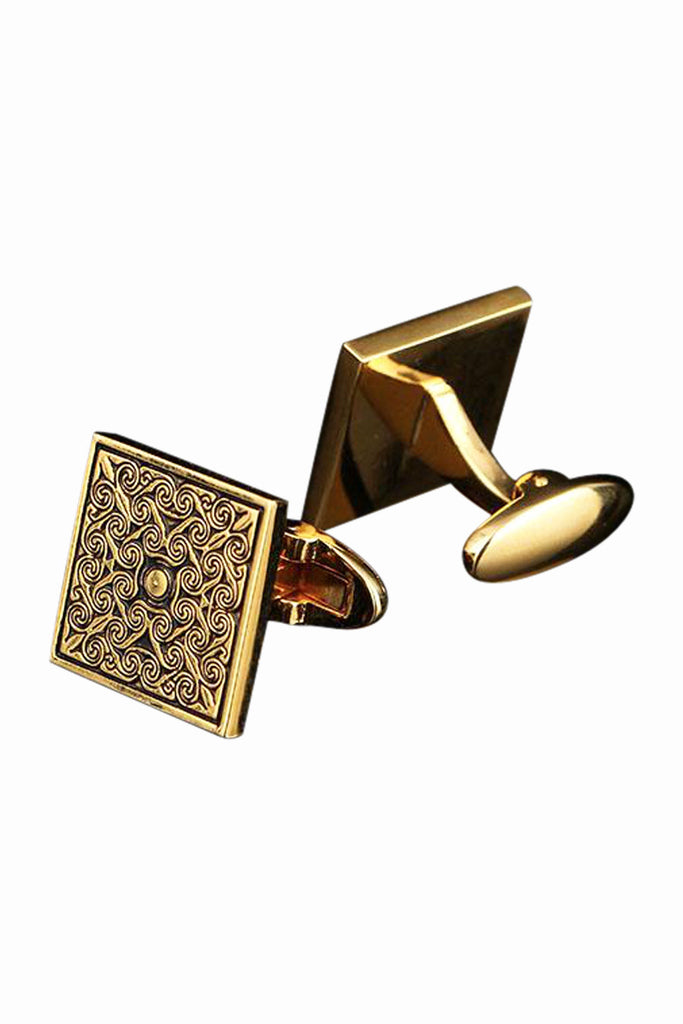 Men's Classic Fancy Vintage Engraving Golden Cufflinks