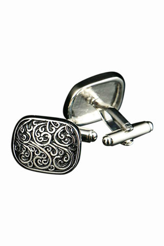 Black Roman Pattern Cufflinks