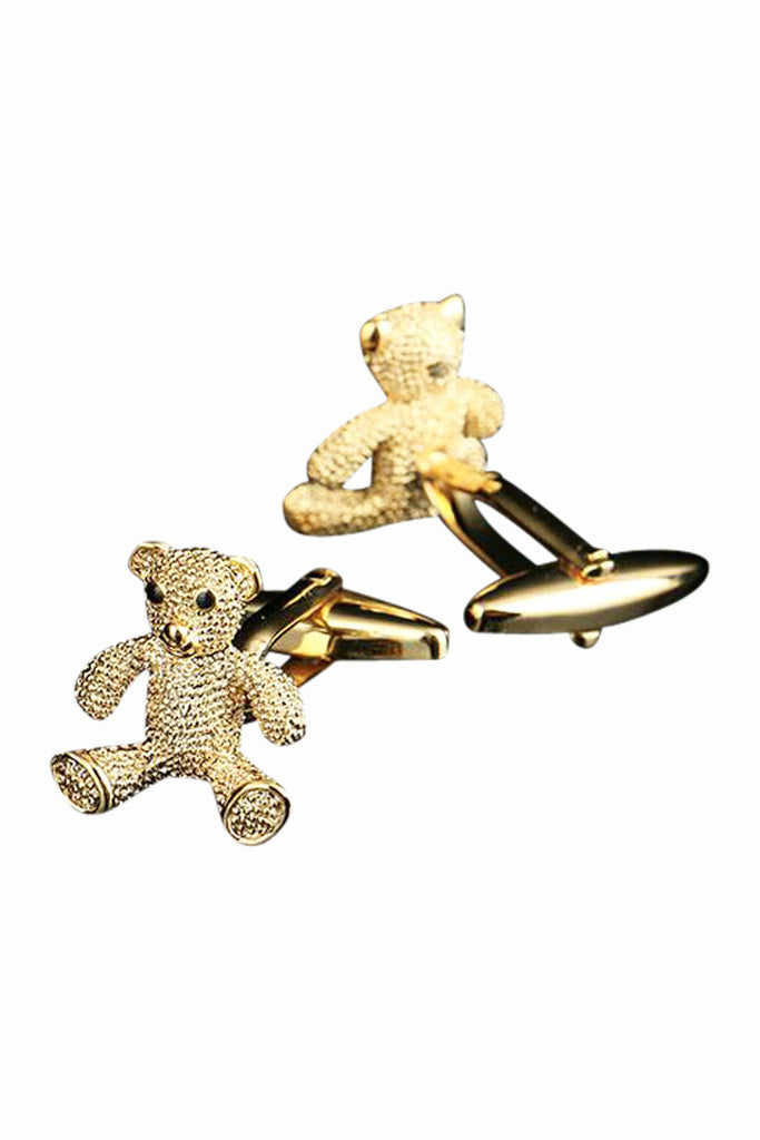 Golden Teddy Bear Crystal Cufflinks