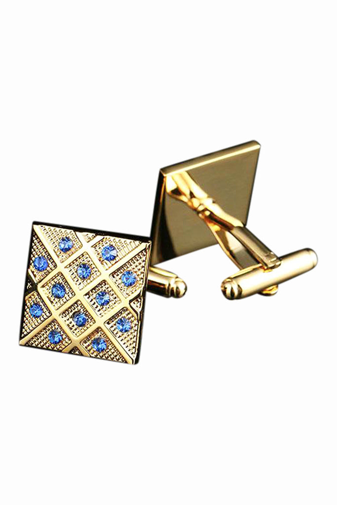 Golden Square Mosaic Blue Crystal Cufflinks
