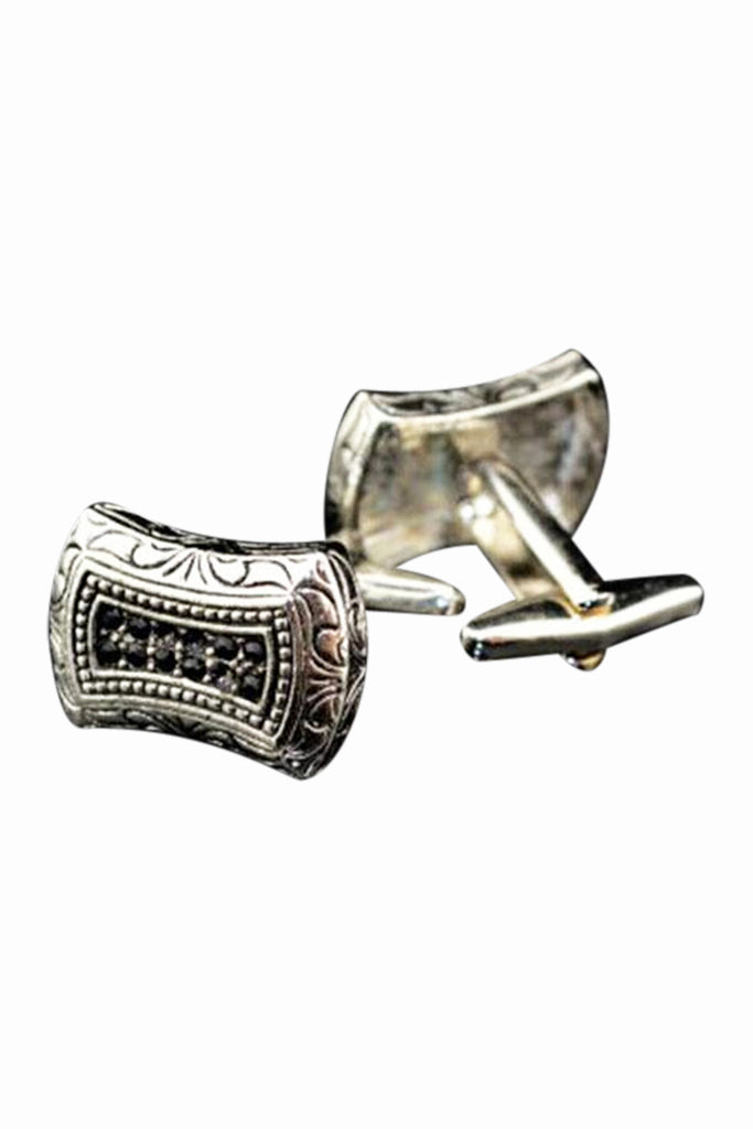 Roman Empire Vintage Pattern Design Ancient Silver Cufflinks