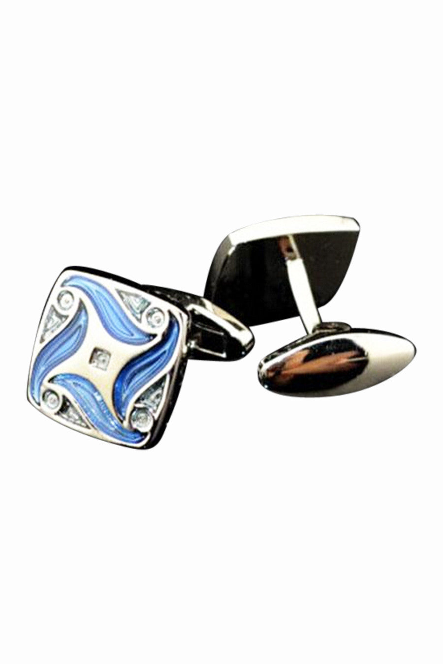 Retro Sky Blue Enamel Cufflinks