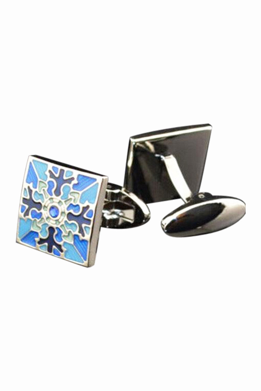 Retro Blue Enamel Men's Cufflinks
