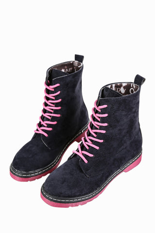 Black Lace Up Suede Boots