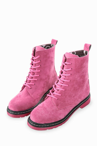 Pink Lace Up Suede Boots