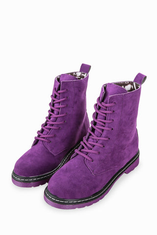 Lace Up Purple Boots