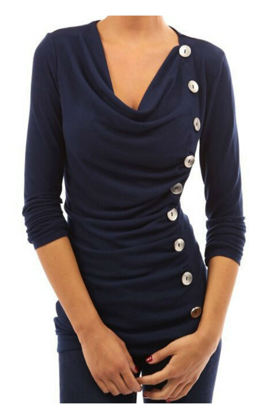 Navy Button Decor Sweatshirt