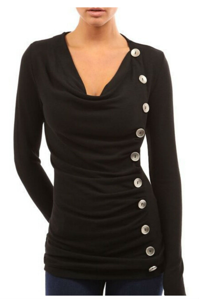 Black Button Decorated Long Sleeve Sweatshirt