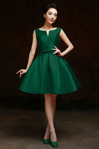 Green Bowknot Waist Lacing Back Sleeveless Prom Dress