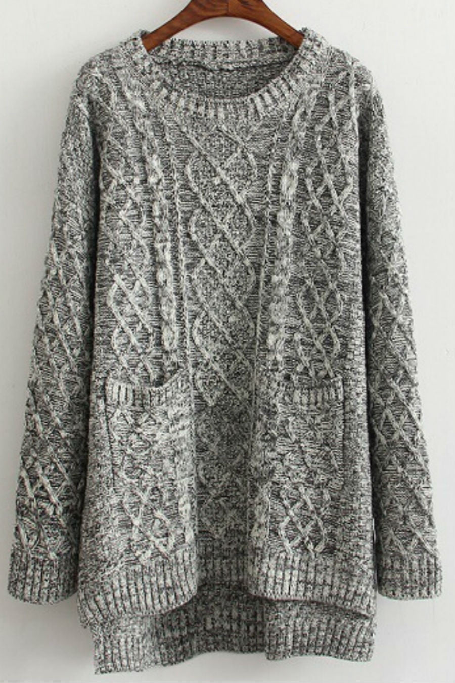 Deep Gray Cable Knit Sweater
