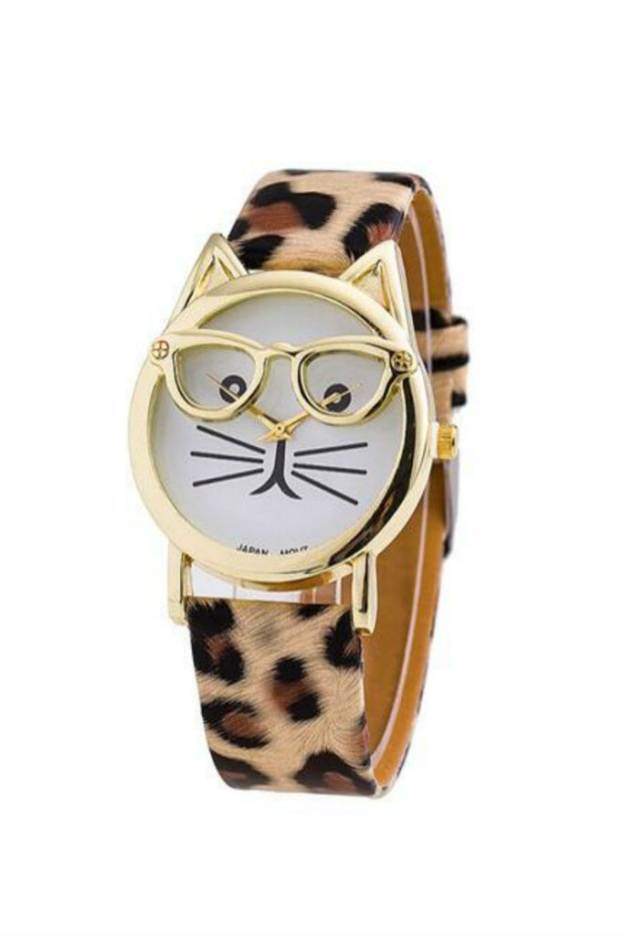 Cat Leopard Leather Strap Watch