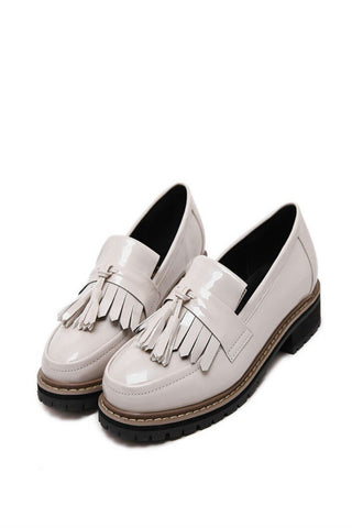 Beige Tassel Oxford Shoes