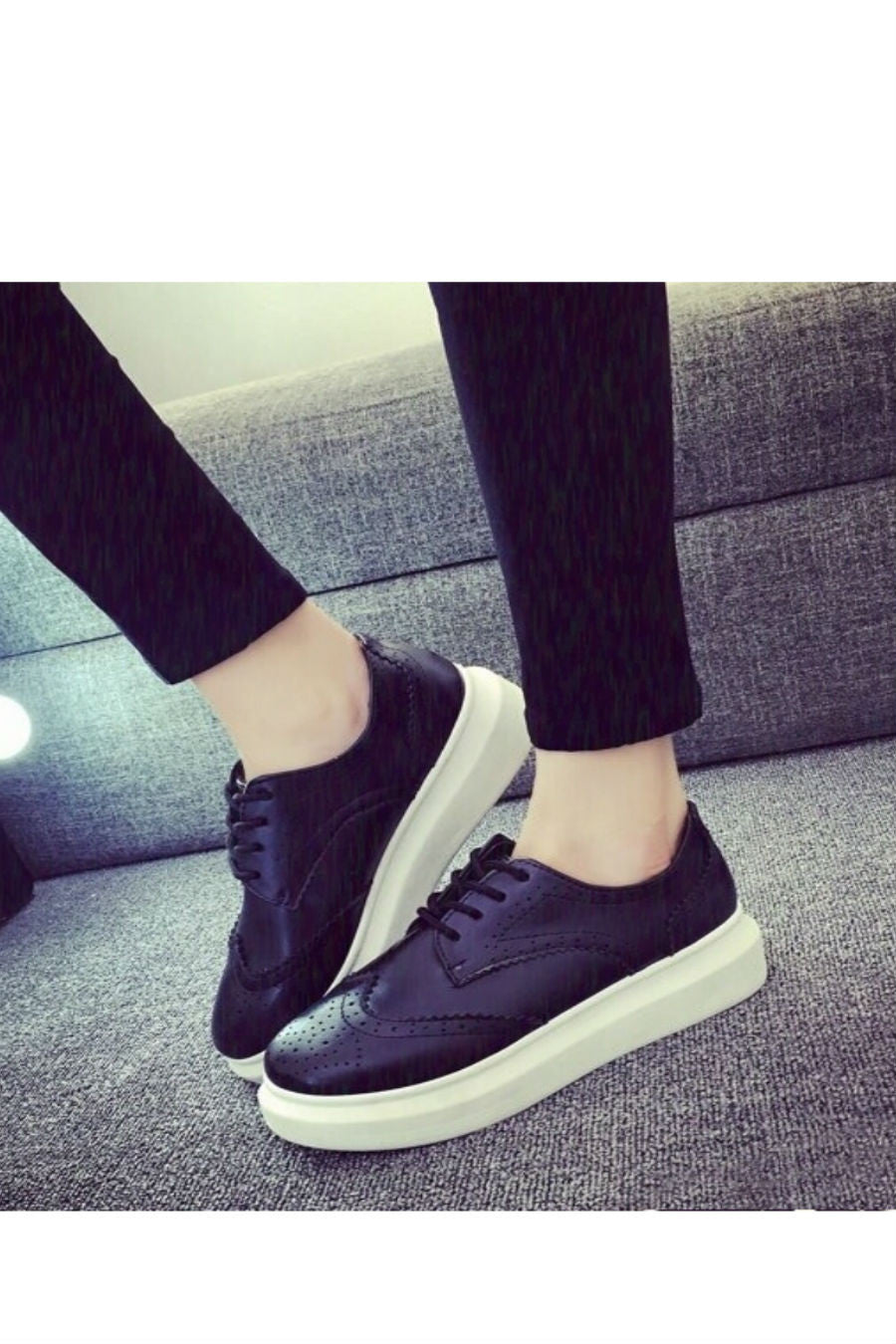 Black Brogue Platform Sneakers