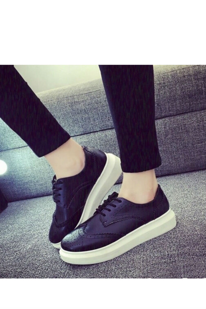 Vintage Black Brogue Platform Sneakers