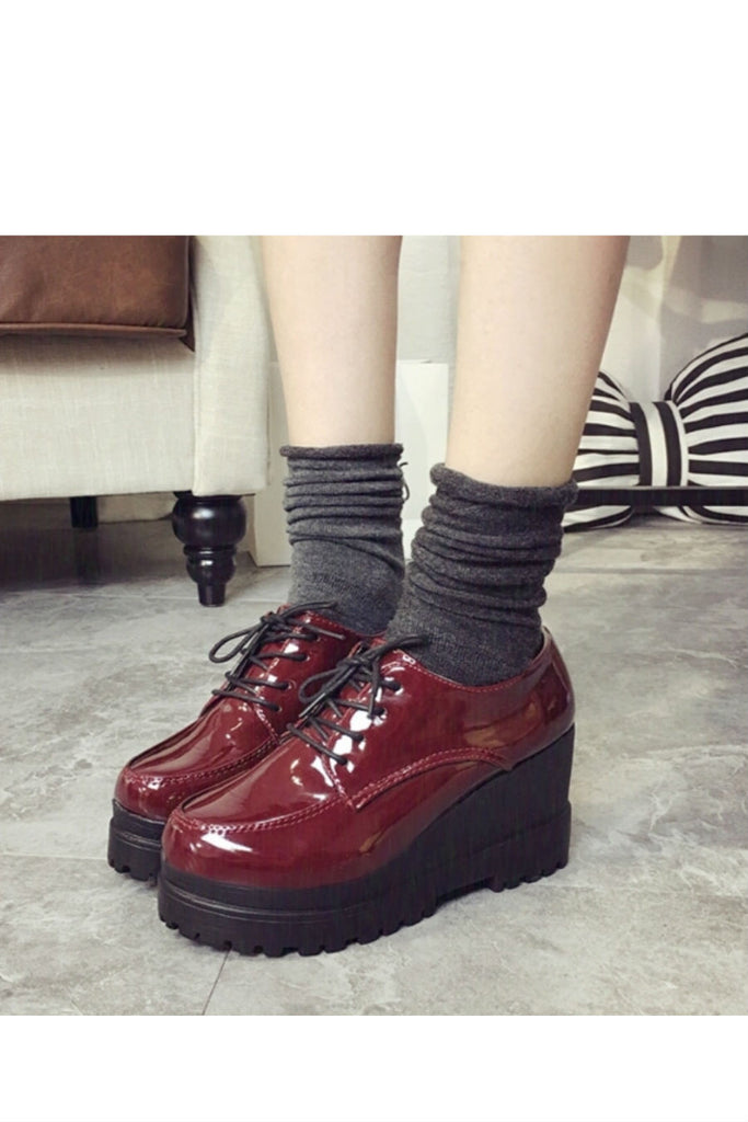 Burgundy Patent Leather Platform Wedge