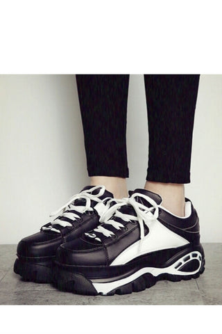 Black White Platform Sneakers