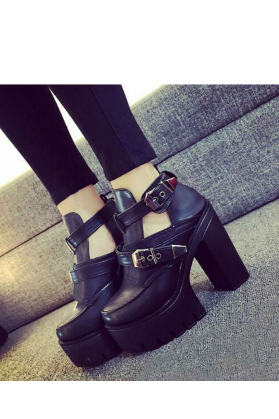 Punk Buckle Heeled Booties